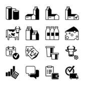 Icon set - süt üretimi, aralığı, satış ve kar — Stok Vektör