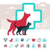 Vector veterinary emblem and pets icon set — Stock vektor