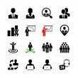 Business people, human resources and management icon set — Stock Vector #32642043