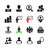 Business people, human resources and management icon set — Stock Vector