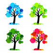 Four seasons - 4 vector trees — Stok Vektör