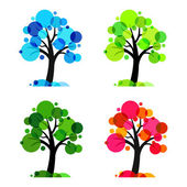 Four seasons - 4 vector trees — Stock Vector