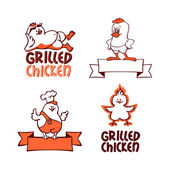 Company logo set. Grilled chicken — Stock Vector