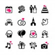 Stock Vector: 16 web icons set - Wedding, marriage, bridal