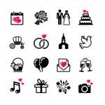 16 web icons set - Wedding, marriage, bridal — Stock Vector