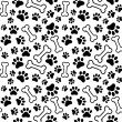Seamless background - pet paw print and bone — Stock Vector