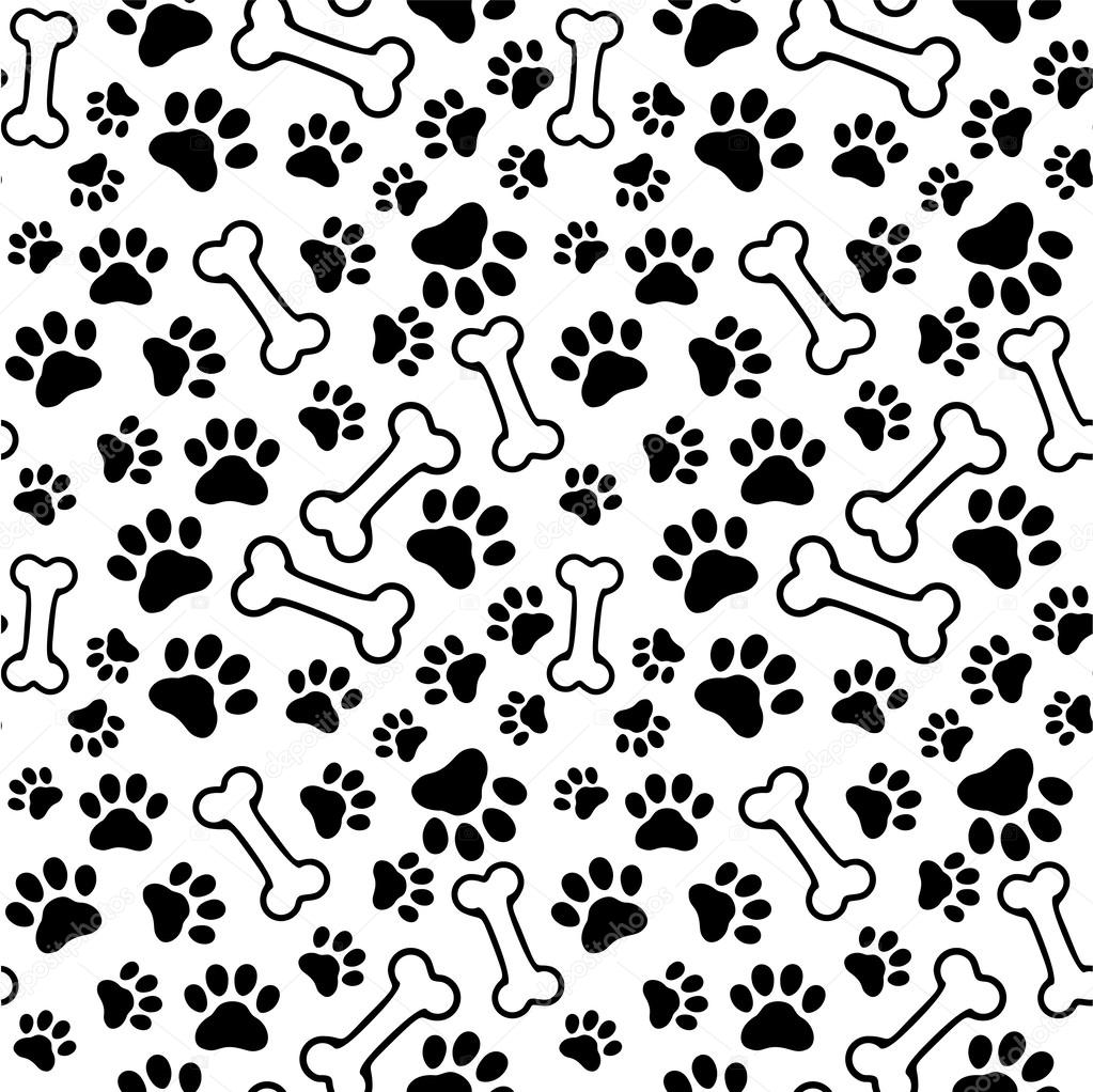 Seamless background - pet paw Dog Bone Pattern Background