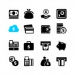16 Web icon set - money, cash, card  — Imagen vectorial