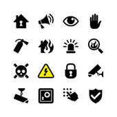 Web icon set - danger, fire, security, surveillance — Stock Vector
