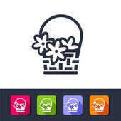 Web icon - flowers basket — Stock Vector