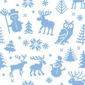Christmas background with deer for knitting — Stock Vector