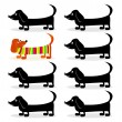 Dachshund dogs - think differently — Stock Vector