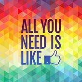 Social media, like - colorful geometric background — Stock Vector