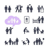 People Family Pictogram. Web icon set. — Stock Vector