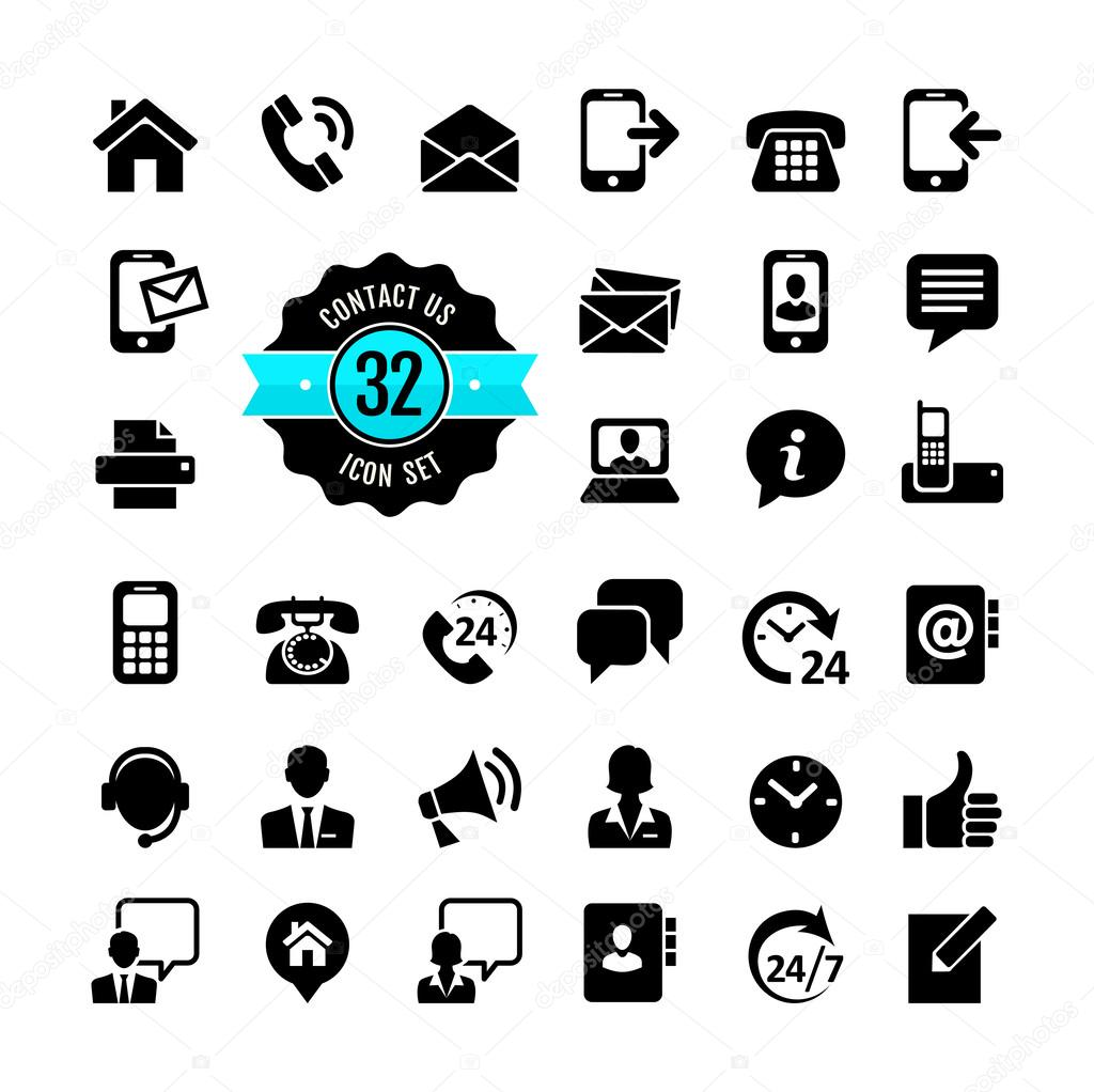 Web icon set. Contact us — Stock Vector © julynx #35579713