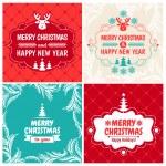 4 Vintage styled Christmas Card - Set of typographic elements, frames, vintage labels — Stock Vector