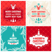 4 Vintage styled Christmas Card - Set of typographic elements, frames, vintage labels — Stock Vector
