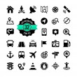 Set of web icons. Location, navigation, transport, map — Stock Vector