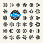 Snowflakes vector collection. Web icon set. — ストックベクタ