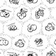 Seamless texture - drawings of fruit and berries with names in French — Stockvectorbeeld