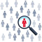 Zoeken naar een baan en carrière keuze, vergrootglas zoeken mensen — Stockvector