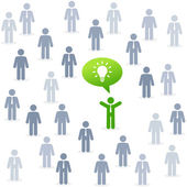 Leader of the ecological idea among the crowd of people. — Stock Vector