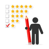 Check mark with red pencil on five star rating — Stock Vector