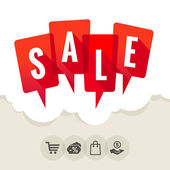 Red speech bubbles with the word SALE — Stock Vector