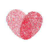 Fingerprint heart — Stock Vector