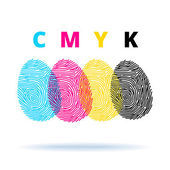 Cmyk concept with fingerprints — Stock Vector
