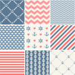 Navy vector seamless patterns collection — Stok Vektör #45349405