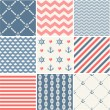 Navy vector seamless patterns collection — Vetor de Stock  #45349405
