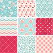 Seamless patterns set - Romance, love and wedding theme — Stock Vector #45417545
