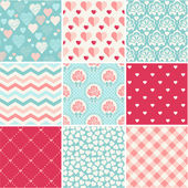 Seamless patterns set - Romance, love and wedding theme — Stock Vector