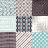 Seamless patterns set - tartan, argyle, sell — Stock Vector
