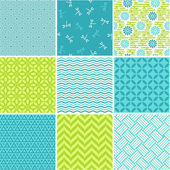 Seamless patterns set - simple summer theme — Stock Vector