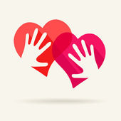 Two hearts and two hands - symbol of love — Stock Vector