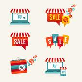 продажа теги, ноутбук с тентом и корзина иконки набор — Cтоковый вектор