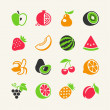 Set of colorful simple icons - fruits and berries — Stock Vector #46518013