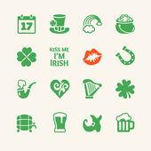 Saint Patrick's Day. Universal flat icons set — Stock Vector