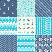 Navy vector seamless patterns collection — Stock Vector