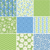 Seamless vector patterns set - summer floral backgrounds — Stock Vector