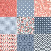 Seamless patterns set - simple wedding theme — Stock Vector