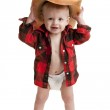 Portrait of toddler boy in a diaper, flannel shirt and a cowboy hat — Stock Photo