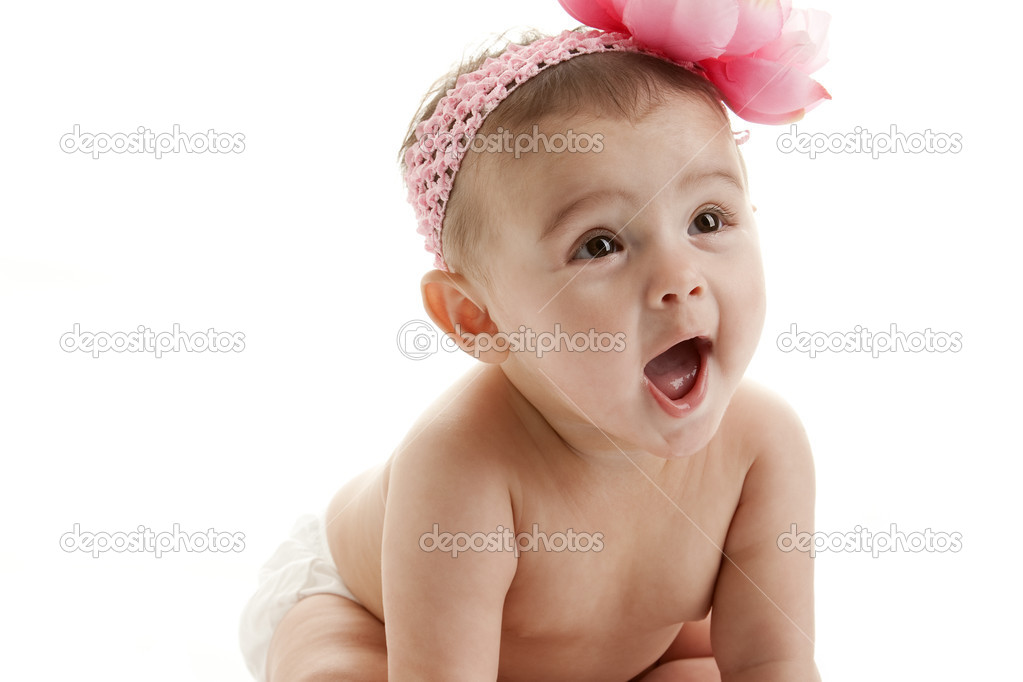 Cute baby girl laughing — Stock Photo © jbryson #21359421
