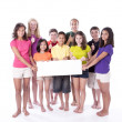 Children and teens holding blank sign with thumbs up - Stock Photo