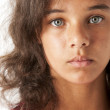 Portrait of serious mixed race girl — Stock Photo