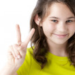Adolescent caucasian girl making a peace sign — ストック写真