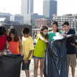 Stock Photo: Group of children of different ethnicities picking up trash in urbarea