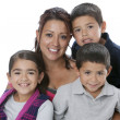 Hispanic single parent family with mother, sons and daughter — Stok Fotoğraf #21365495
